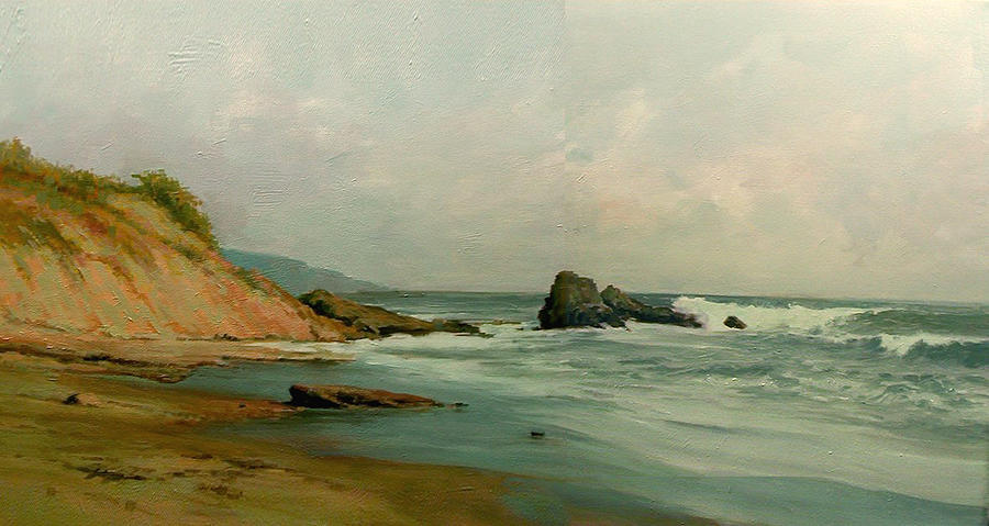 Sea Painting - Seashore by Demetrios Vlachos