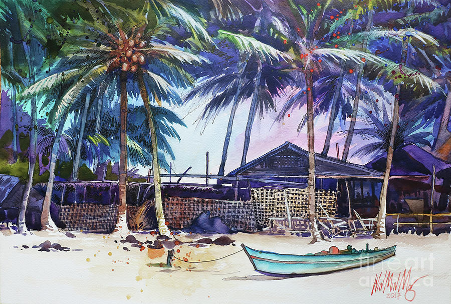 Landscape Painting - Seashore by Win Min Mg