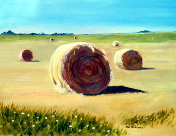 Landscape Painting - Seaside Hayfield by Anne Trotter Hodge