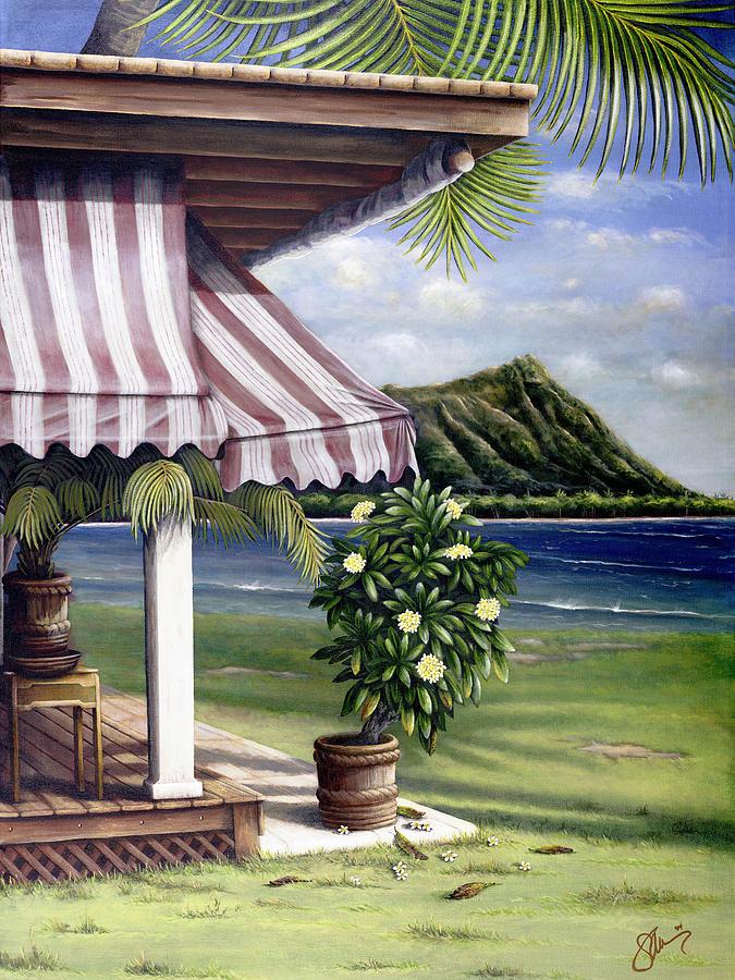 Acrylic Painting - Seaside Hotel by Sandra Blazel - Printscapes