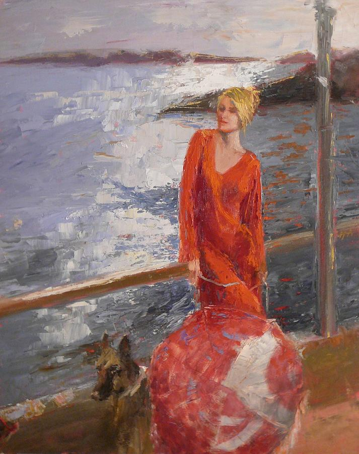 Red Dress Painting - sold Seaside Interest by Irena  Jablonski