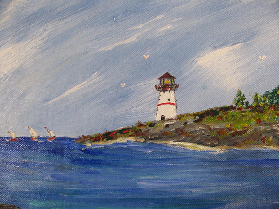 Lighthouse Painting - Seaside Sentinel by Dennis Poyant
