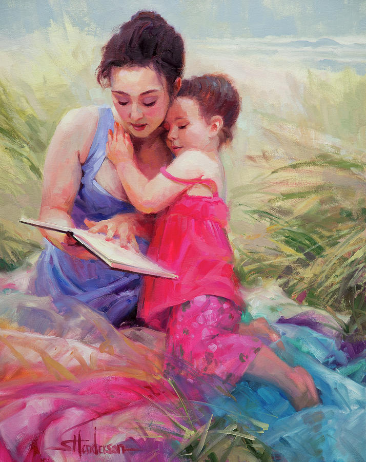 Woman Painting - Seaside Story by Steve Henderson