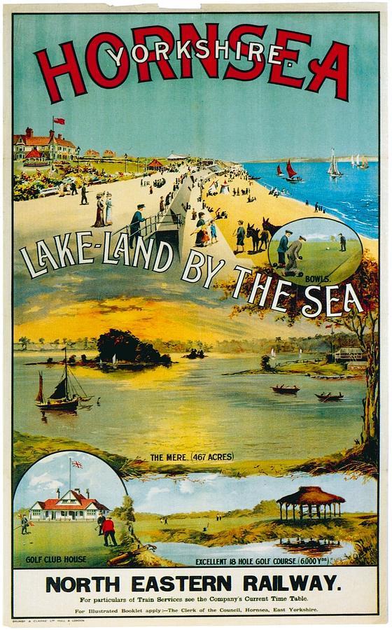 Hornsea Painting - Seaside Town Scene from Hornsea Yorkshire - Vintage Travel Poster by Studio Grafiikka