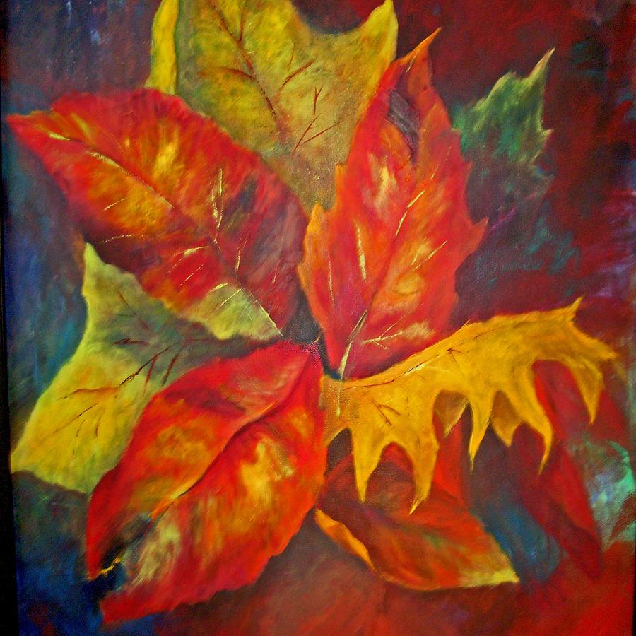 Leaves Painting - Seasons End by Carolyn Saine