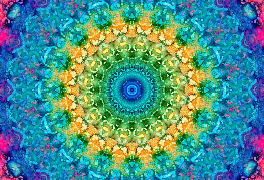 Blue Photograph - Seasons Summer Mandala by Lynne Guimond Sabean