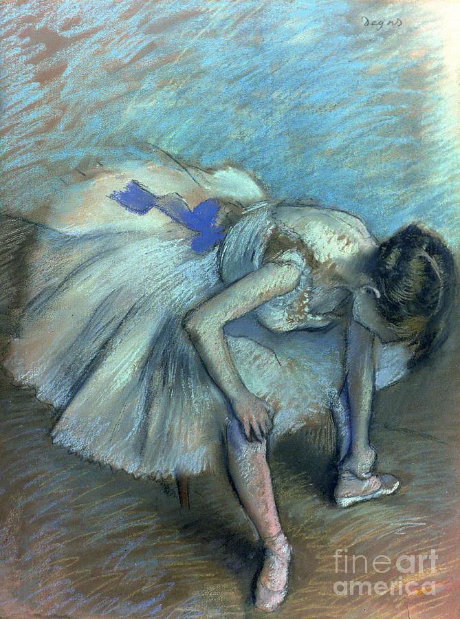 Seated Dancer Pastel by Edgar Degas