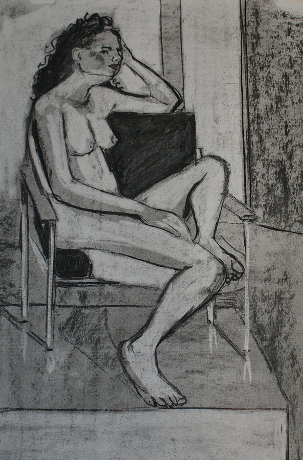 Female Nude Drawing - Seated Female by Joanne Claxton