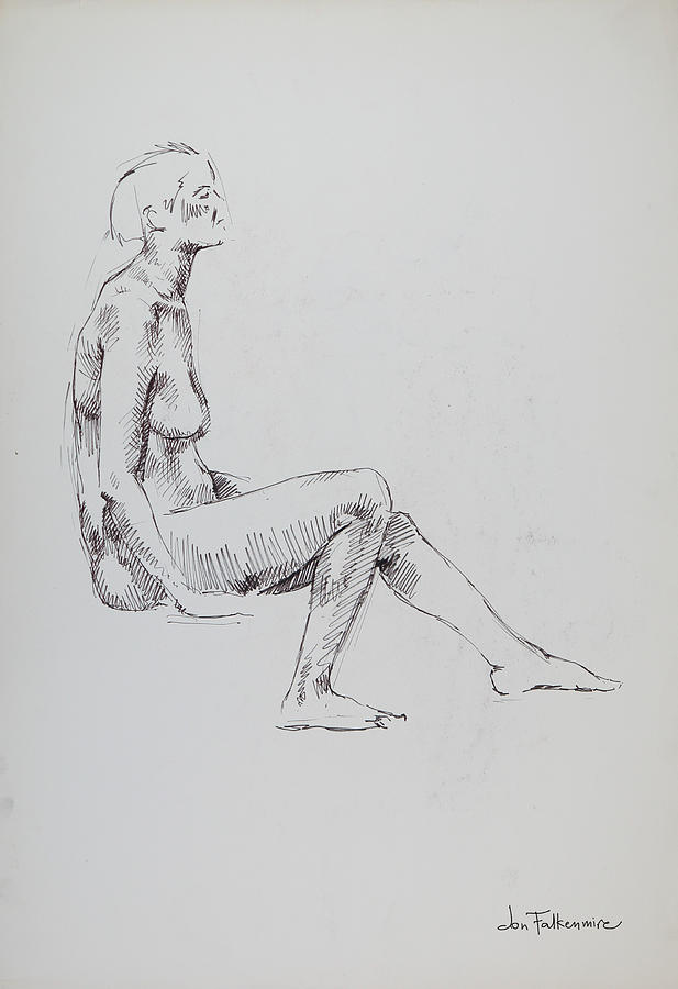 Low Seated Female, Left Leg Forward. Student Work. Drawing