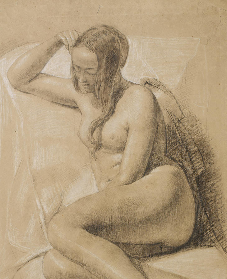Nude Drawing - Seated Female Nude by Sir John Everett Millais