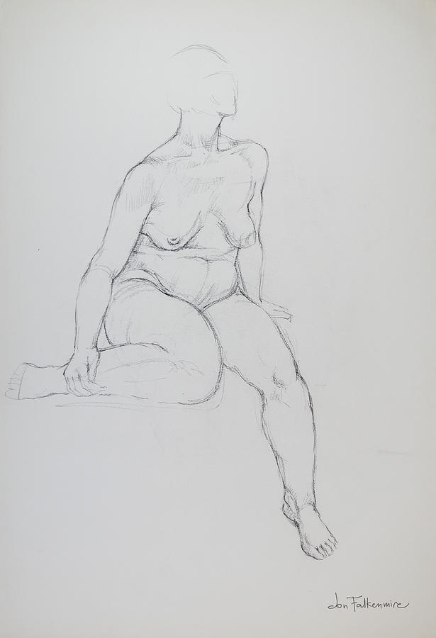 Seated Female, Right Leg Folded Back, Strong Outline. Student Work. Drawing