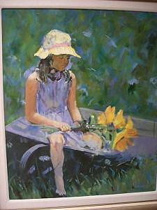 Painting Painting - Seated Girl With Flower by Perry  Rubenstein