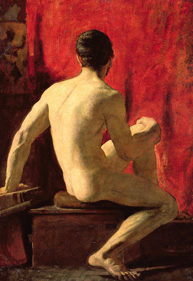 Male Painting - Seated Male Model by William Etty