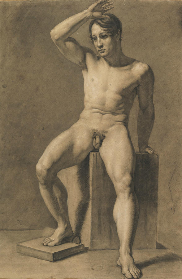 Anselm Feuerbach Drawing - Seated Male Nude by Anselm Feuerbach