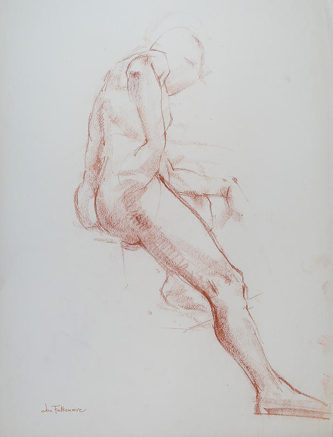 Seated Male, Right Leg Outstretched, Leaning On Left Knee, Student Work. Drawing