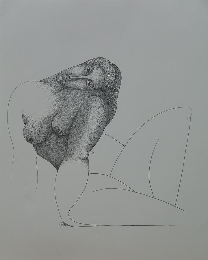 Sacha Circulism Drawing - Seated Nude 2008 by S A C H A -  Circulism Technique