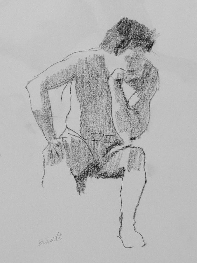 Life Drawing - Seated Nude 3 by Robert Bissett