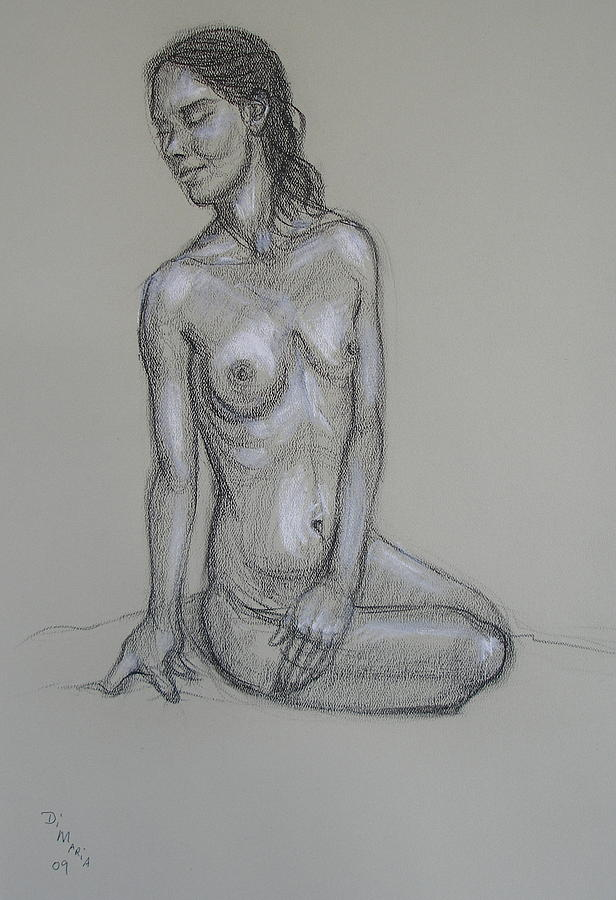 Realism Drawing - Seated Nude 6 by Donelli  DiMaria