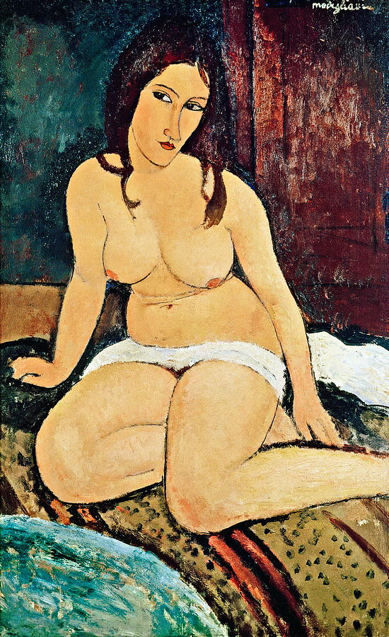 Seated Painting - Seated Nude by Amedeo Modigliani