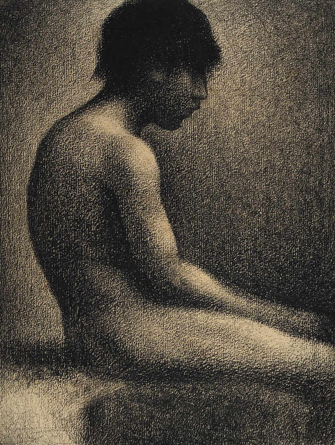 Georges-pierre Seurat Drawing - Seated Nude Study For Une Baignade by Georges-Pierre Seurat