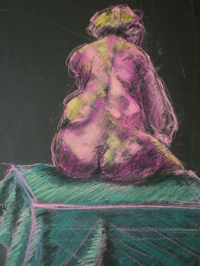 Seated Nude Painting - Seated Pink Nude by Aleksandra Buha