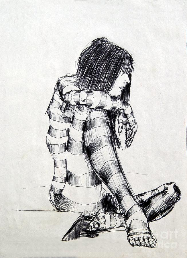 Ink Drawing Drawing - Seated Striped Nude by Ron Bissett