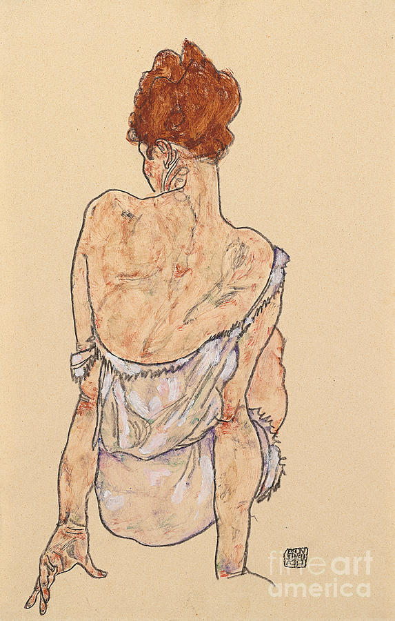 Rear View Drawing - Seated Woman In Underwear by Egon Schiele