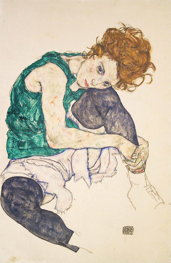 Egon Schiele Drawing - Seated Woman With Legs Drawn Up by Egon Schiele