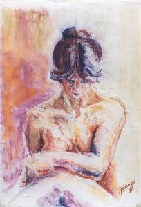 Nude Painting - Seating Woman by Marcello Romeiro