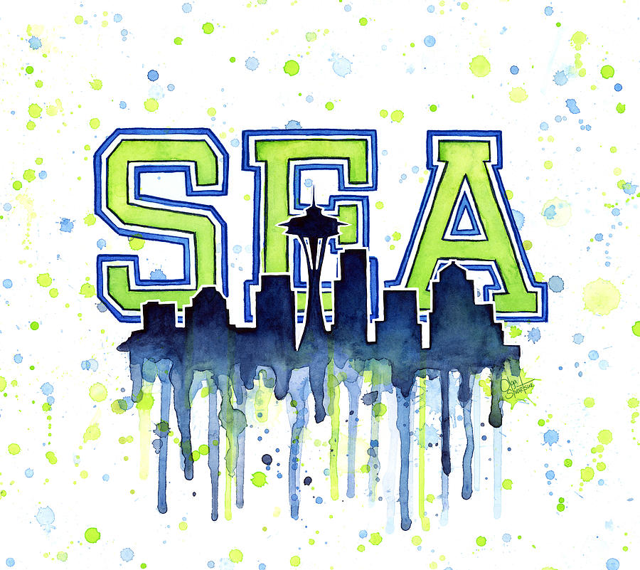 Watercolor Painting - Seattle Watercolor 12th Man Art Painting Space Needle Go Seahawks by Olga Shvartsur