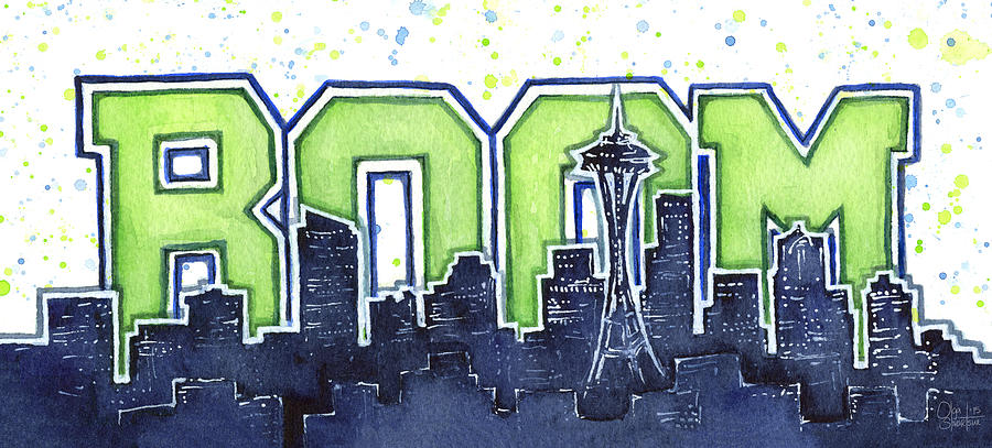 Seattle Painting - Seattle 12th Man Legion of Boom Painting by Olga Shvartsur
