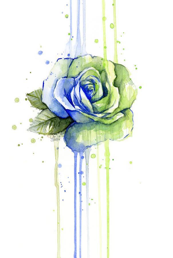 Watercolor Painting - Seattle 12th Man Seahawks Watercolor Rose by Olga Shvartsur