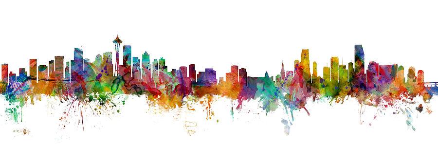 Seattle Digital Art - Seattle And Miami Skylines Mashup by Michael Tompsett