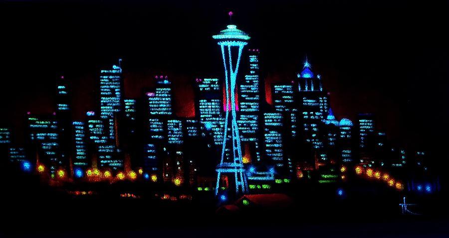 Seattle Painting - Seattle By Black Light by Thomas Kolendra