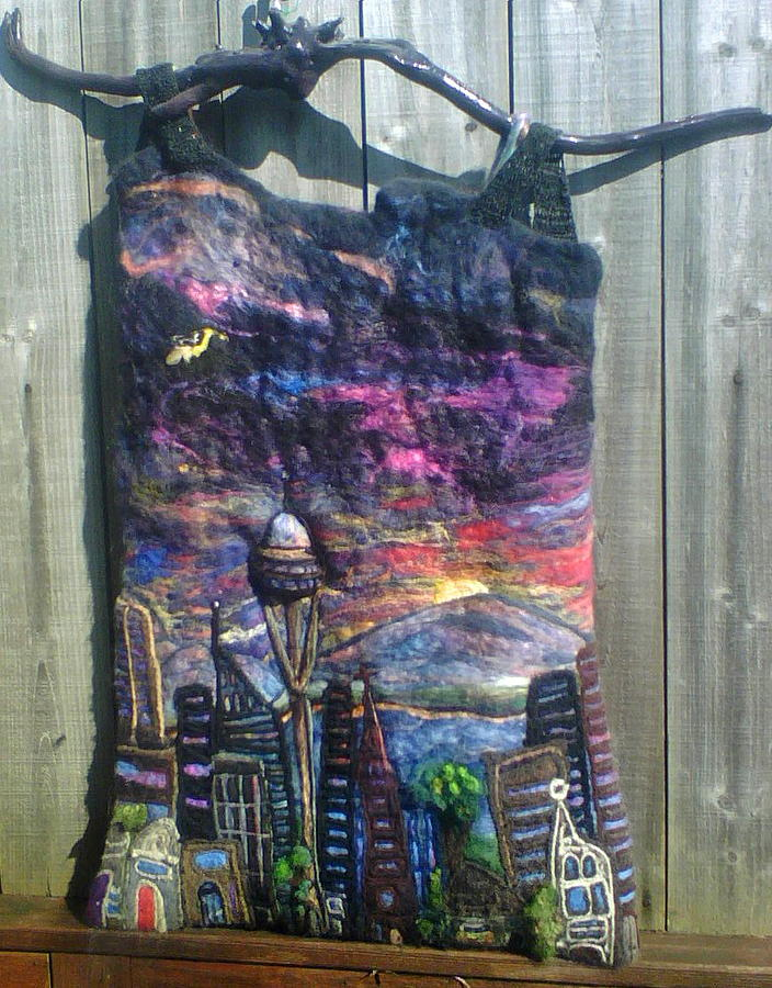 Fiber Mixed Media - Seattle City Scape by Akasya Maya VerSoy