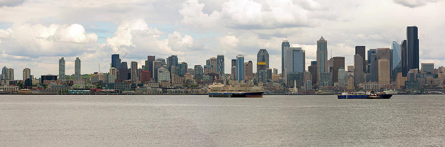 Seattle Photograph - Seattle City Skyline Along Elliott Bay by David Gn