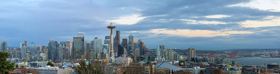 Seattle Photograph - Seattle City Skyline At Dusk Panorama by David Gn