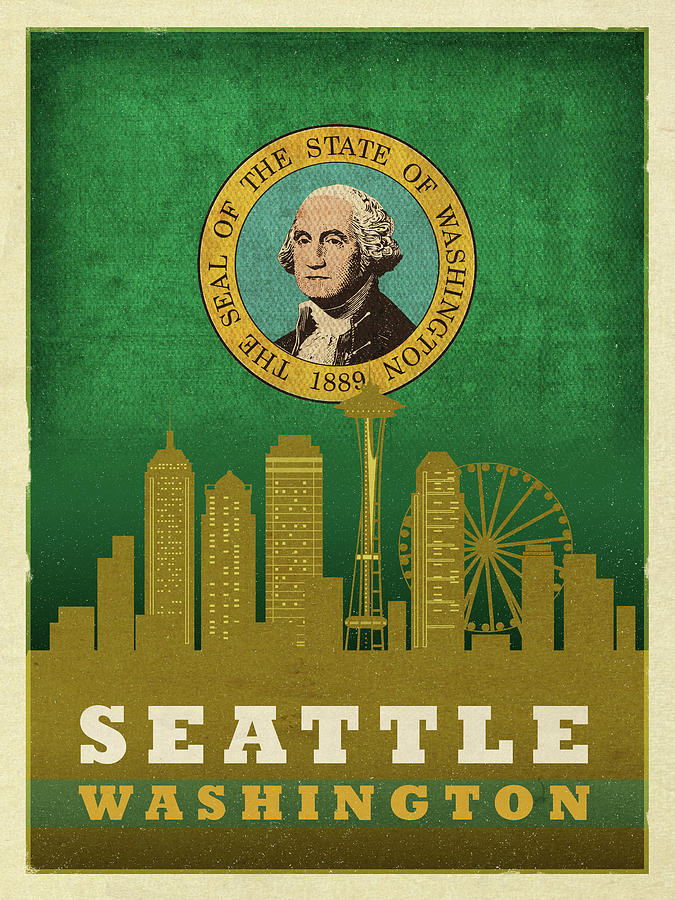 Seattle City Skyline State Flag Of Washington Art Poster Series 017 Mixed Media By Design Turnpike