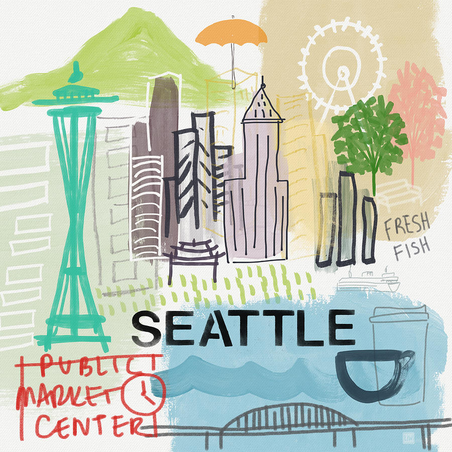 Seattle Painting - Seattle Cityscape- Art By Linda Woods by Linda Woods
