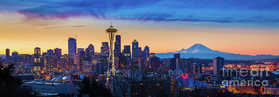 America Photograph - Seattle Dawn Panorama by Inge Johnsson