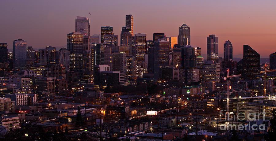 Seattle Photograph - Seattle Dusk by Mike Reid