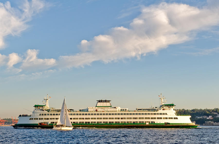 Seattle Photograph - Seattle Ferry Boat by Tom Dowd
