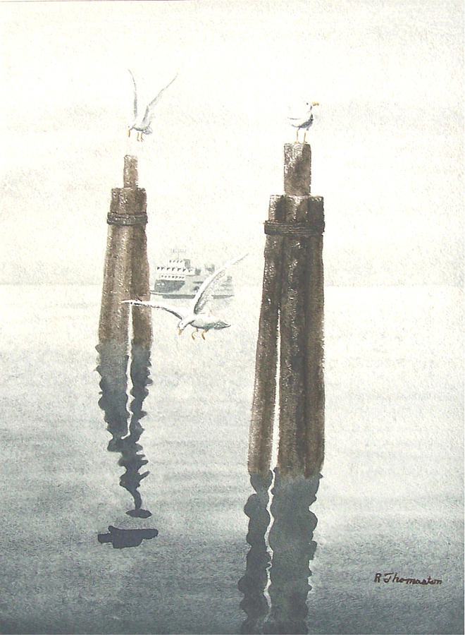 Water Painting - Seattle Ferry by Robert Thomaston