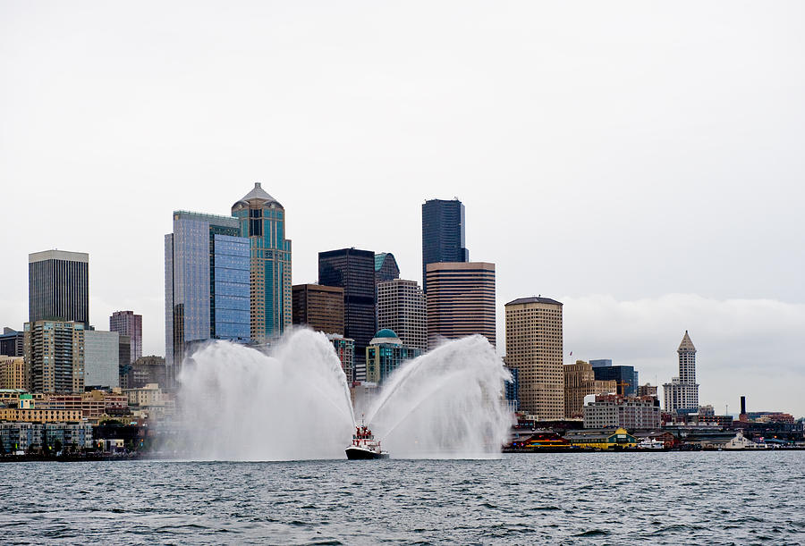 Seattle Photograph - Seattle Fire Boat by Tom Dowd
