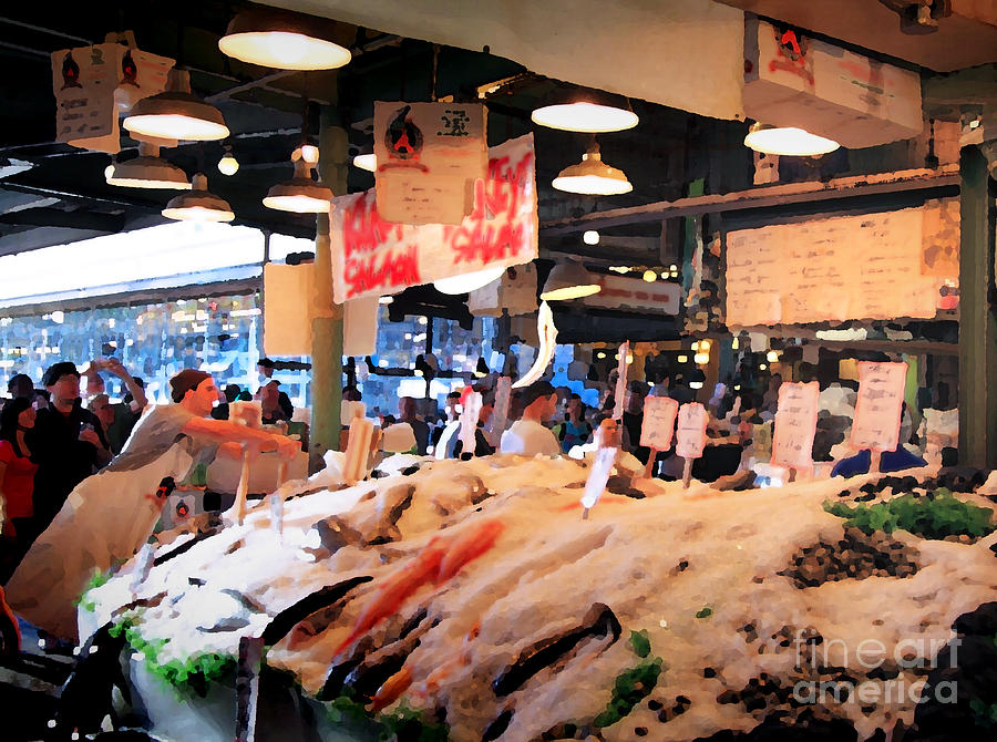 Pike Street Market Photograph - Seattle Fish Throw Pike St Market by Peter Simmons