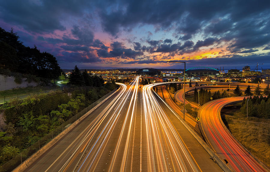 Seattle Photograph - Seattle Freeway Light Trails by David Gn
