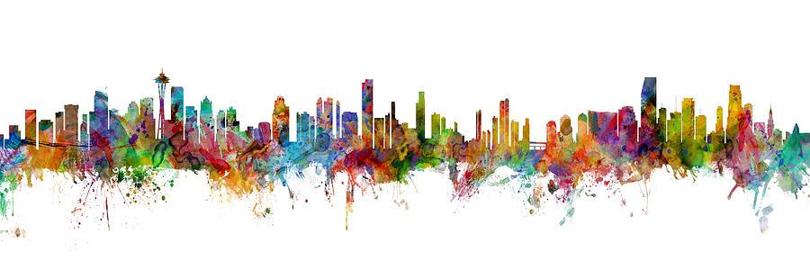 Miami Digital Art - Seattle, Honolulu And Miami Skylines Mashup by Michael Tompsett