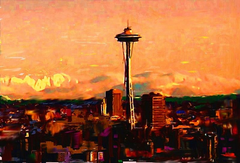Seattle in the Clouds by Carla Dreams