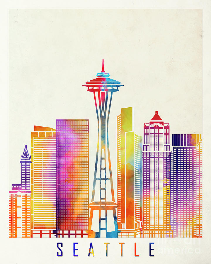 Seattle Landmarks Watercolor Poster Painting By Pablo Romero