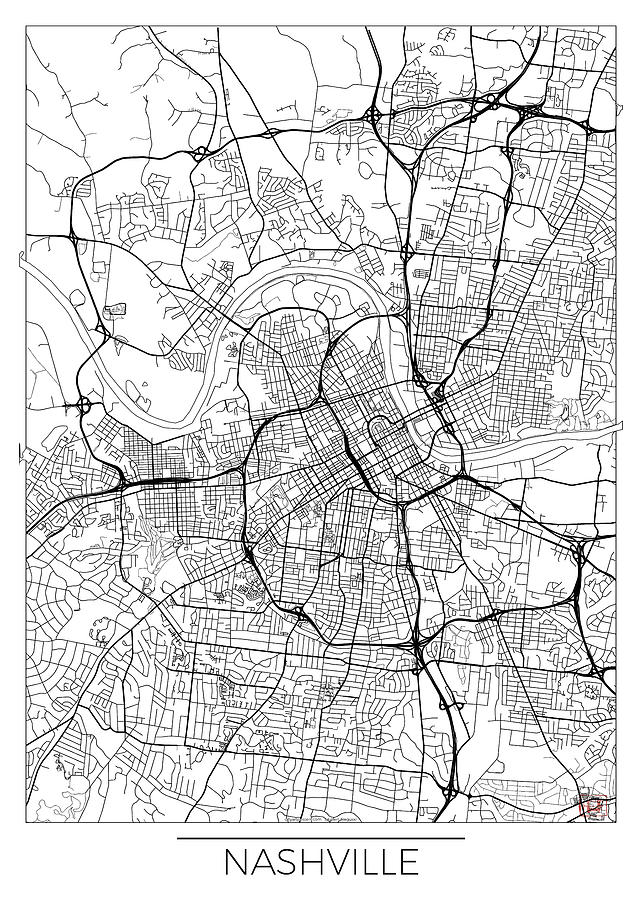 Seattle Map Minimal Digital Art By Hubert Roguski